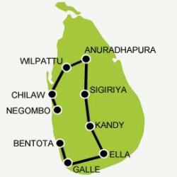 Family tour in Sri Lanka tour map