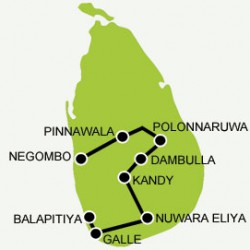 honeymoon-sri-lanka tour map
