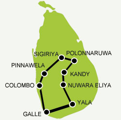Immersion Tour Sri Lanka tour map