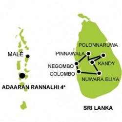 Sri lanka and Maldives tour map